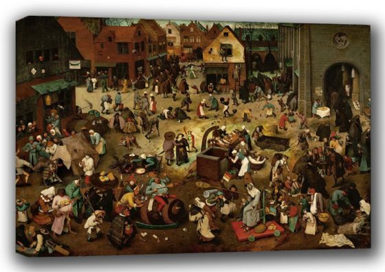 Bruegel the Elder, Pieter: The Fight Between Carnival and Lent. Fine Art Canvas. Sizes: A3/A2/A1 (00863)